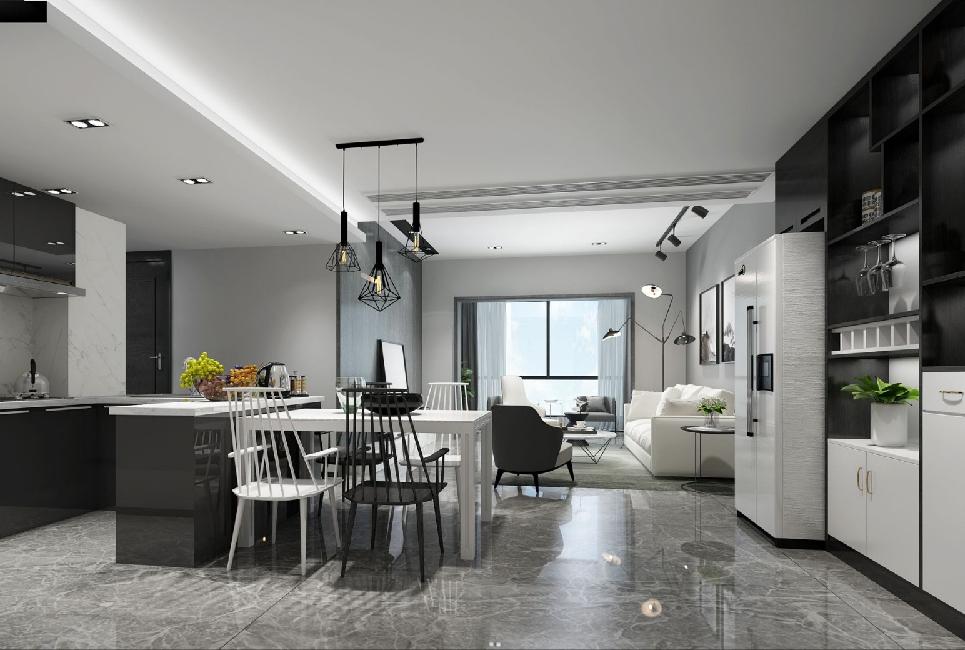 高级黑白灰景峰家园复式设计